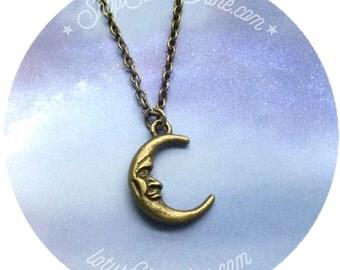 Moon necklace crescent moon, bronze necklace,