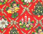Vintage Christmas Wrapping Paper - Christmas Trees Candles & Bells - Holiday Wrapping Paper
