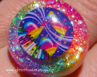 Vintage 90's Lisa Frank Rainbow Music Note Resin Statement Ring, Rainbow Glitter Gradient Kawaii Music Lover Bubble Ring, GlitterFusion Ring