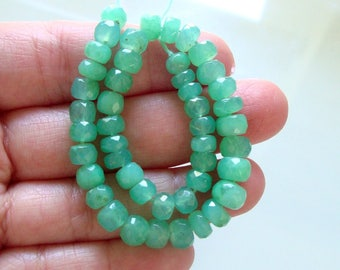 "7.5"" strand, 5.5-7x3-5mm, Australia Chrysoprase Gemstone,25% off, Faceted Rondelle Beads, NOT Green Chalcedony"