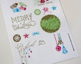 Christmas Holiday Stickers & Labels - 22 stickers