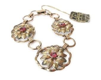 12K Gold Filled Sterling Pink Stone Bracelet - Providence Stock Company, PR. ST. Co., Pink Rhinestone, Flower Bracelet, Vintage Bracelet