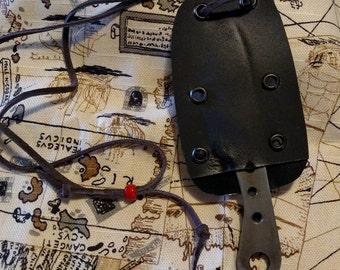 Hand made Skeletonized Survival  Neck Knife in Kydex Sheath