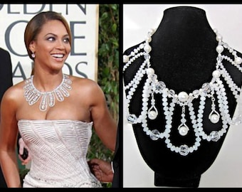 White Crystal & Pearl Necklace -- Beaded White Statement Necklace -- White Wedding Statement Necklace -- Bridal Statement Bead Necklace