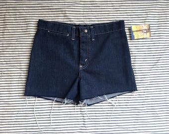 "28"" Waist / Denim Cut Offs / 1970's Denim Shorts / High Waisted Denim Hot Pants / Festival Hipster / Jean Shorts / Coachella / Dark Wash"