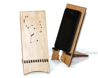 Orion constellation, wood phone holder, Orion's belt decor, desk accessories, Orion phone stand, smartphone gift ideas, travel phone holder