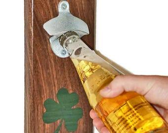 Wall Mount bottle opener, home brewing, craft beer, man cave decor, Shamrock Wood opener, Walnut bar tool, magnetic cap catcher, Irish pub