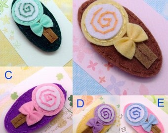 Handmade felt snap hair clip (FC- Group 16)