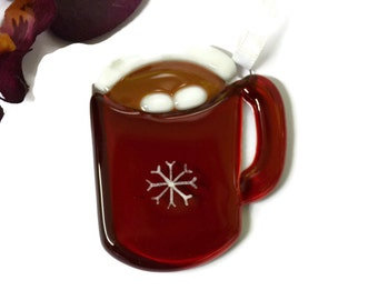 Fused Glass Cup of Hot Chocolate Christmas Ornament Sun Catcher