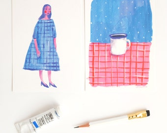A set of Two Blue & Purple Postcards. Lady in a checkered dress and a cup of coffee