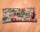 Deer Animal Spirit Eye Pillow with Rose Quartz and Leopardskin Jasper, 4th Chakra