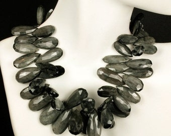 ON SALE Cats Eye Quartz Beads Flat Teardrops Briolettes Faceted Black and Silver Earth Mined Gemstones - Your Choice of Pair or Focal Bead