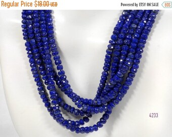 ON SALE Lapis Rondelles Faceted Lapis Lazuli Rondels Deep Blue Lapis Roundels Pyrite Earth Mined Gemstone - 6.5-Inch Strand - 3 to 4mm