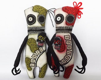 PAIR Creepy Monster Dolls Zombie Voodoo Dolls