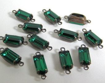 12 - 10x5 Emerald Green Octagons Mounted in 2 Ring Patina Brass Setting
