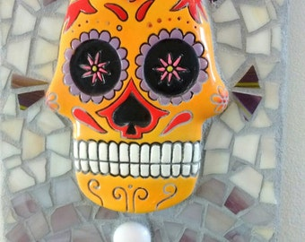 Skull art - mosaic wall art - mosaic skull art - home decor - sugar skull mosaic - glass art - home decor mosaic art - sugar skull art gift