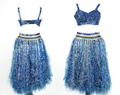 SOLD to Bre Rare 1950s Grass Tinsel Skirt & Bra, 50s Costume, Full Skirt Pinup Bra, Vintage Belly Dance Costume, Hawaiian Dress Set