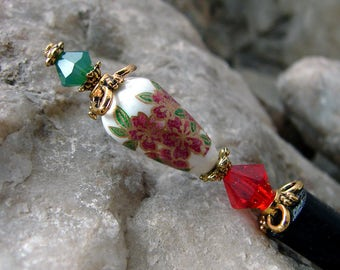Red Floral Hair Stick Japanese Tensha Flower Hairstick with Green Accents Oriental Hair Pic or Hair Pin Unique Hair Chopstick - Tayce 3015