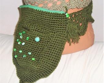 Green, hip bag, fanny pack, belt bag, waist bag, festival bag, utility belt, crochet hip bag, festival belt, hip bag crochet