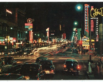 Hollywood Boulevard at Night Coffee Dan's Restaurant California postcard