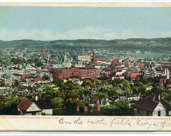 Panorama Chattanooga & Mission Ridge Tennessee 1906 postcard