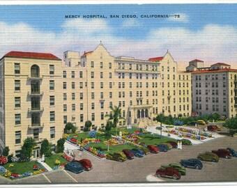 Mercy Hospital San Diego California linen postcard