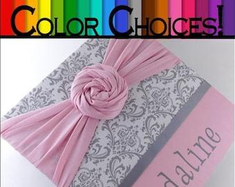 Girl Baby Memory book - Gray Damask Personalized Girl Scrapbook Journal- Optional Colors!!