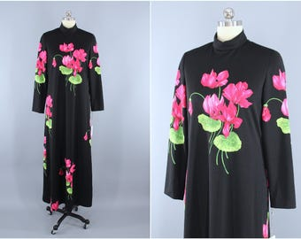 Vintage 1960s Dress / 60s Maxi Dress / 70s Cocktail Party Dress / 1970s Evening Gown / Pink Cyclamen Black Floral Print / TEAL TRAINA