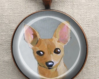 Chihuahua Keychain ~ Mini Painting ~ Dog Keychain ~ Chihuahua Owner Gift ~ February Birthday ~ Gifts for Her