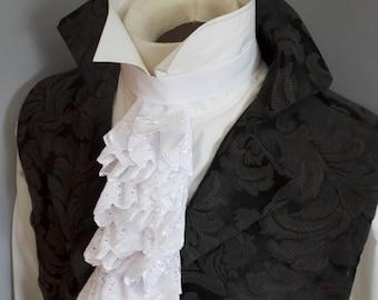Regency Historic Victorian White Embroidered Floral Cotton JABOT - Lace Ascot Cravat Necktie Tie