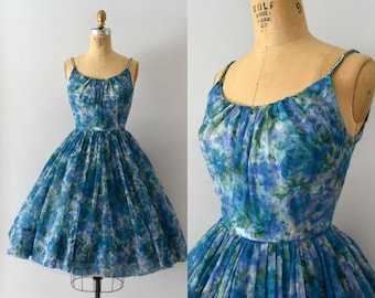 Vintage 1950s Dress - 50s Blue Floral Chiffon Party Dress