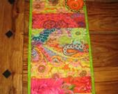 "Quilted Table Runner, Kaffe Fassett Bright Green Pink Orange Summer Decor, Reversible 10 x 24.5"" 100% cotton fabrics"
