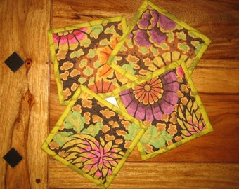 "Kaffe Fassett Plum Brown Green Contemporary Flower Fabric Coasters, 5 x 5"" 100% cotton fabrics Free Shipping"
