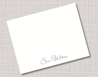 Custom Purple Lavender Lilac Name Note Cards