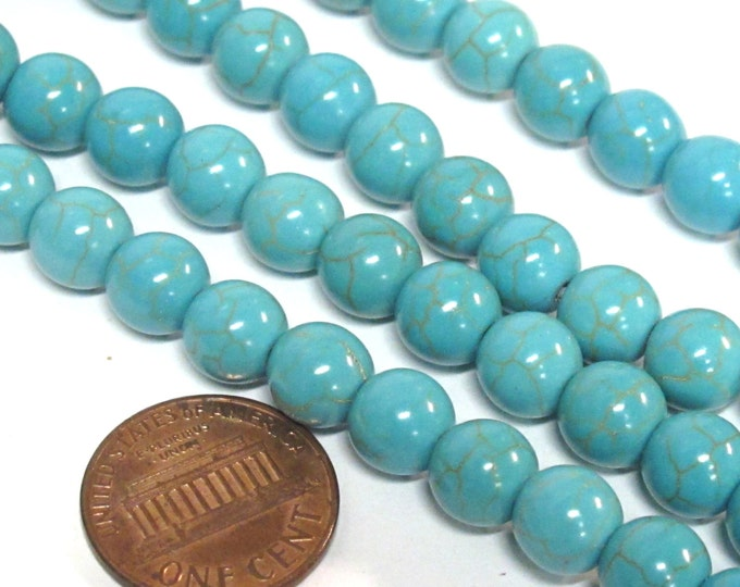 50 Beads - Round shape blue turquoise color  howlite beads 8 mm size - GM419