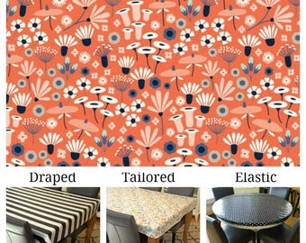 Laminated cotton/oilcloth tablecloth custom fit choose elastic, tailored or draped Wildflower print, waterproof, wipe clean