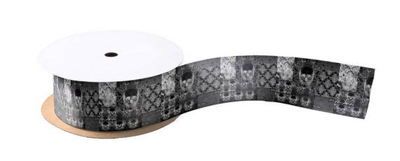 """Quilted Skull Ribbon 3"""" wide"""