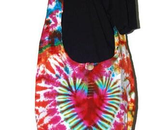 Crossbody Buddha Multicolour Tie Dye Bag, Purse Sling Messenger  Hobo Hippie no 7
