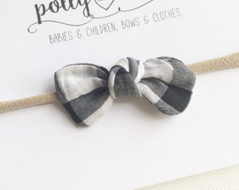 Black and white gingham mini knot bow headband