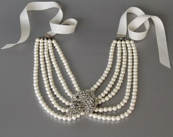 Holly Golightly Statement Necklace from Vintage Rhinestone Pin and Pearl Choker