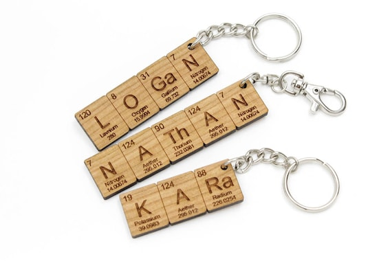 Custom name periodic table chemistry keychain cool science or like this item urtaz Gallery