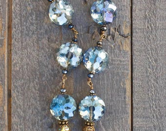 Blue and Charcoal with Clear Crystal Necklace