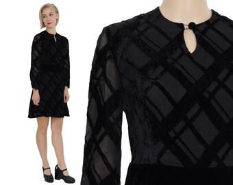 60s Devoré Burnt VELVET Party Dress S | Keyhole Babydoll Minidress | Black Velvet Party Dress Size Small
