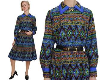 Kaleidoscope Print Jewel Tone Dress | M / L | Novelty Print Long Sleeve Blue Op Art Print Shirtwaist Dress