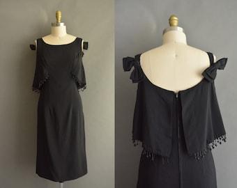 vintage 1950s dress / 50s Emil E. Otto saucy black vintage cocktail dress