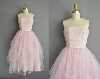50s strapless vintage tulle party prom dress. vintage 1950s dress