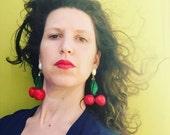 Large Cluster Earrings, Red Cherry Statement Earrings, Bold Trendy Fashion Jewelry, Fruit Jewelry Summer Earrings