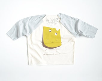 Lonely Cheese Organic Kids 3/4 Sleeve Jersey Raglan | Fair Trade | Screen Printed Clothing | Unisex | Gender Neutral | Hipster