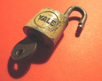 Vintage Yale & Towne Small Yellow Lock and Key