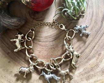 Dog Lovers Charm Bracelet // Vintage Silver Tone Charm Bracelet